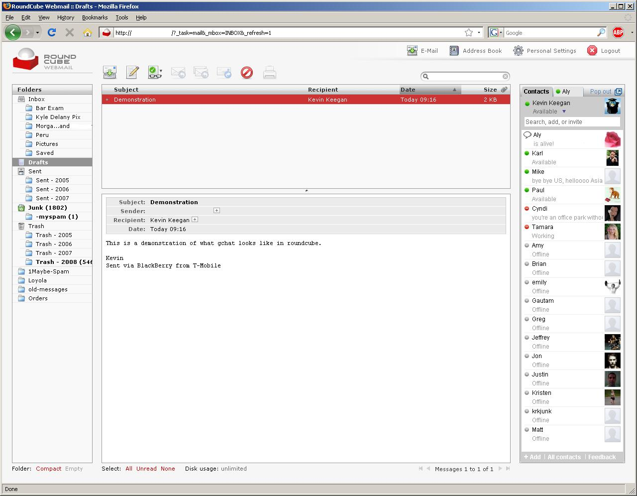 Integrating Google Talk with Roundcube – KRKeegan